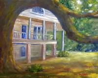 Louisiana Art; Oak Tree, Mansion