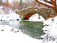 Gapstow Bridge Snow Scene, Central Park