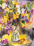 Daffodils and Lilac Watercolor Still Life