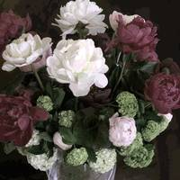 TF Small Peony Rose Burgundy white Dark Green
