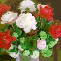 TF Small Peony Rose, Red, green and white