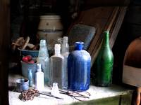 Indian Range Kitchen antique bottles