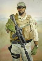 Modern Day Soldier Watercolor Painting