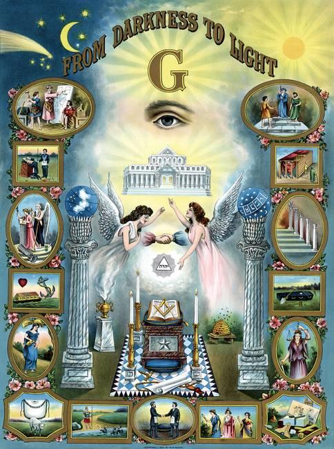 Antique Masonic Poster By Alan Ammann