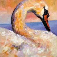 Swan - Oil Painting by Ginette Callaway
