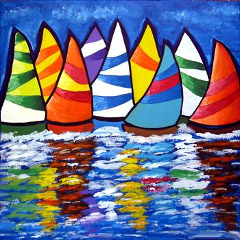 Sailboats Reflections by artist Renie Britenbucher. Giclee prints, art prints, posters, a seascape, marine art, boat race, sailboats, sailboat race; from an original  painting