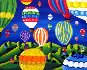 Hot Air Balloons Festival by artist Renie Britenbucher. Giclee prints, art prints, posters, a landscape with hot air balloons; from an original  painting