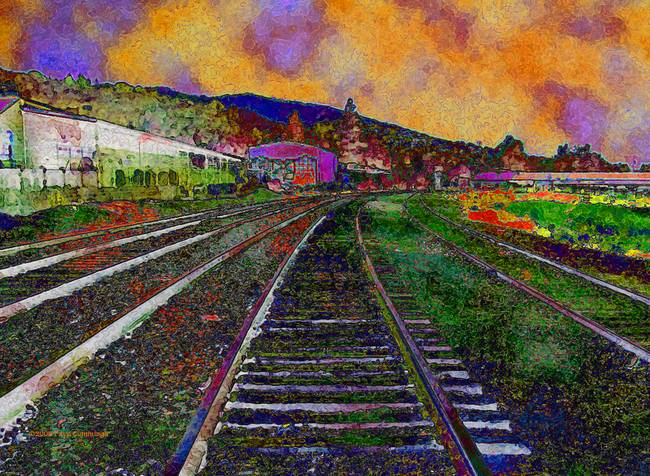 Image result for perspective from a train in painting