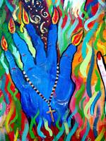 Hands Defy Their Planting (detail 3 blue hand)