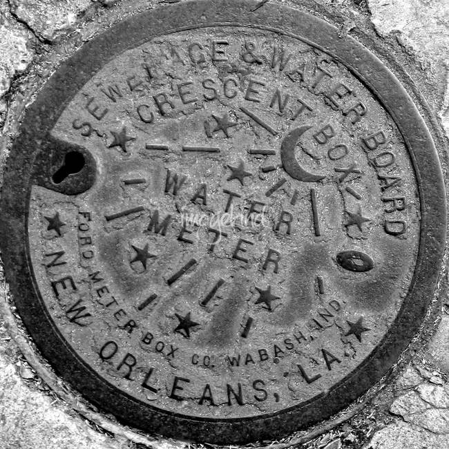 New orleans water meter cover black white by amy marquis