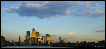 Canary Wharf as sun is setting