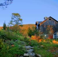 Beside The Barn-Evening Glow-Catskill Mountains