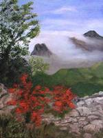 MORNING CLOUDS IN THE GUADALUPE MOUNTAINS - oil