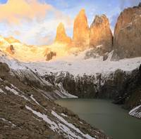 Torres del Paine at sunrise, Patagonia