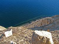 Nevada lake water looking over a cliff