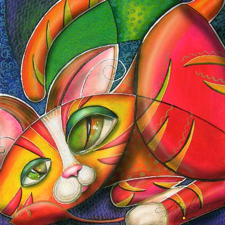 Kitty in a Box by Alma Lee - Giclee print of animal art; cat art; acrylic, water colors, pastel.; mixed media illustration; fine art prints.