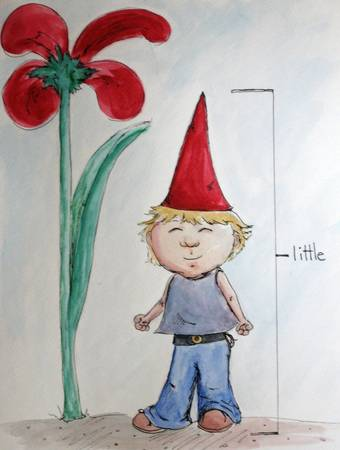 One Little Gnome, One big flower by Heather Young