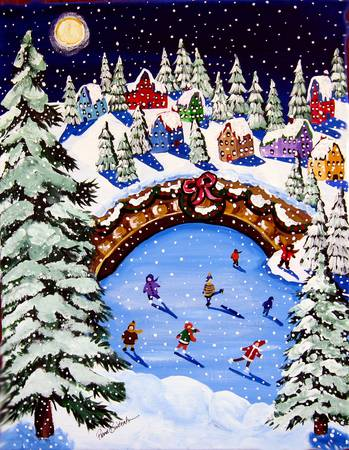 Winter Scene by artist Renie Britenbucher. Giclee prints, art prints, posters, a landscape, folk art, winter scene, night, snowing, snowfall, ice skating; from an original  painting