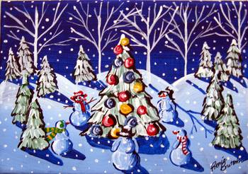 Snowmen Around The Christmas Tree by Renie Britenbucher