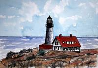 nautical art print portland head lighthouse