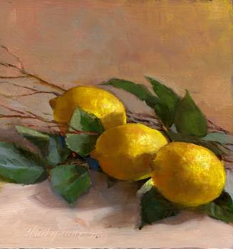 Lemons With Lemon Tree Branches and Leaves by artist Hall Groat II. Giclee prints, art prints, a still life, fine art print; from an original oil painting