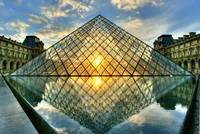 Summer Reflective Sunset at the Louvre Pyramid