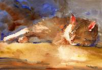 Edward Sleeping, Watercolor Painting Animal Orange
