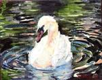 Swan Lake 2, OIl Painting White Bird Wildlife Natu
