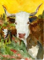 Contemplative Bull, Watercolor Steer Painting West