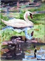 Swan Lake, White Bird Oil Painting Art