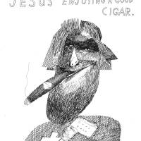 """Jesus Enjoying A Good Cigar"" by richardstine"