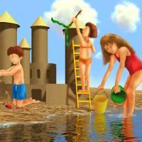 """blue,childrens art,childrens room,beach,nursery"" by MarianneIlevitzky"