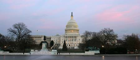 US Capitol at winter dusk