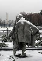 korean war memorial washington monument winter