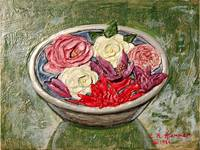 Begonias, Gardenias and Roses in Silver Bowl Paint