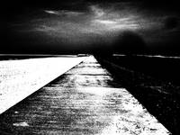 Sea Wall Vanishing Point (Black and White)