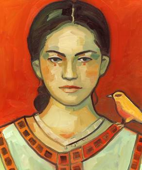 Girl with Yellow Bird by Keelyart Paintings