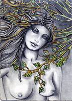aceo original  nude pretty with leaves001.jpg read