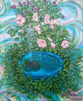 Solar Lily Pad Fountain Painting