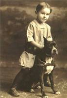 Vintage Portrait of Small Boy with Pitbull