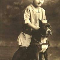 """Vintage Portrait of Small Boy with Pitbull"" by BreedHistoryCards"