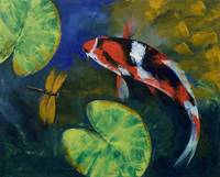 Showa Koi and Dragonfly