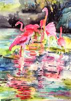 Florida Flamingos, OIl Painting Pink Flamingo Trop