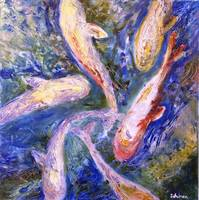 Six Koi, OIl Painting Carp Fish Art