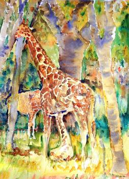 Giraffe Park Abstract Watercolor Painting By Miriam Schulman