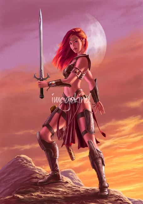 Liani - Red elven warrioress