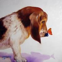 BASSET & BUTTERFLY by Marcia Baldwin