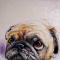 PUG LOVE M BALDWIN ORIGINAL ART by Marcia Baldwin