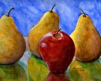 Apple and Pears Watercolor Still Life