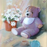 Afternoon tea with Teddy Art Prints & Posters by Donna Wallace